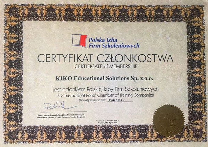 certyfikat KIKO Educational Solutions Sp.zo.o.